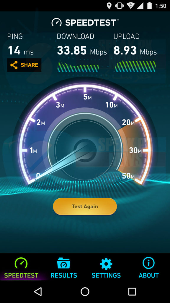wi-tribe LTE Advanced speed test result